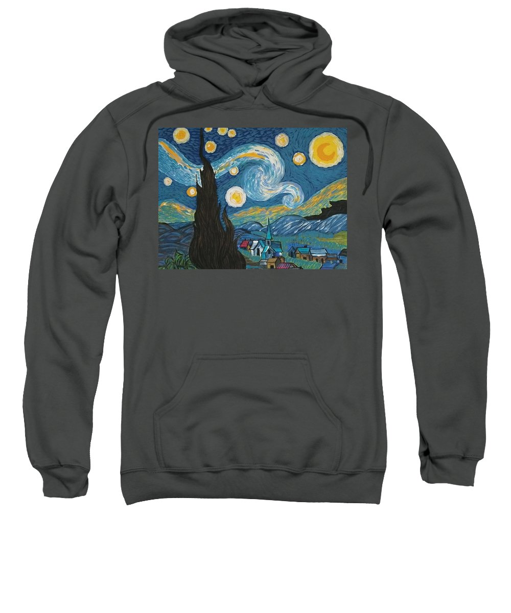 Vincent Sweatshirt featuring the painting My Starry Nite by Angela Miles Varnado