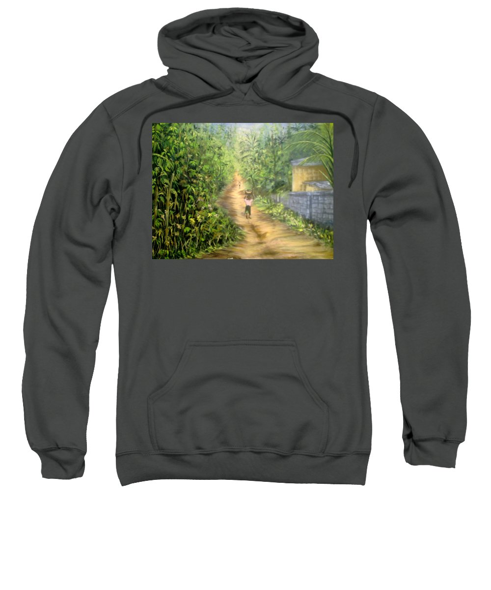 Culture Sweatshirt featuring the painting My Village by Olaoluwa Smith