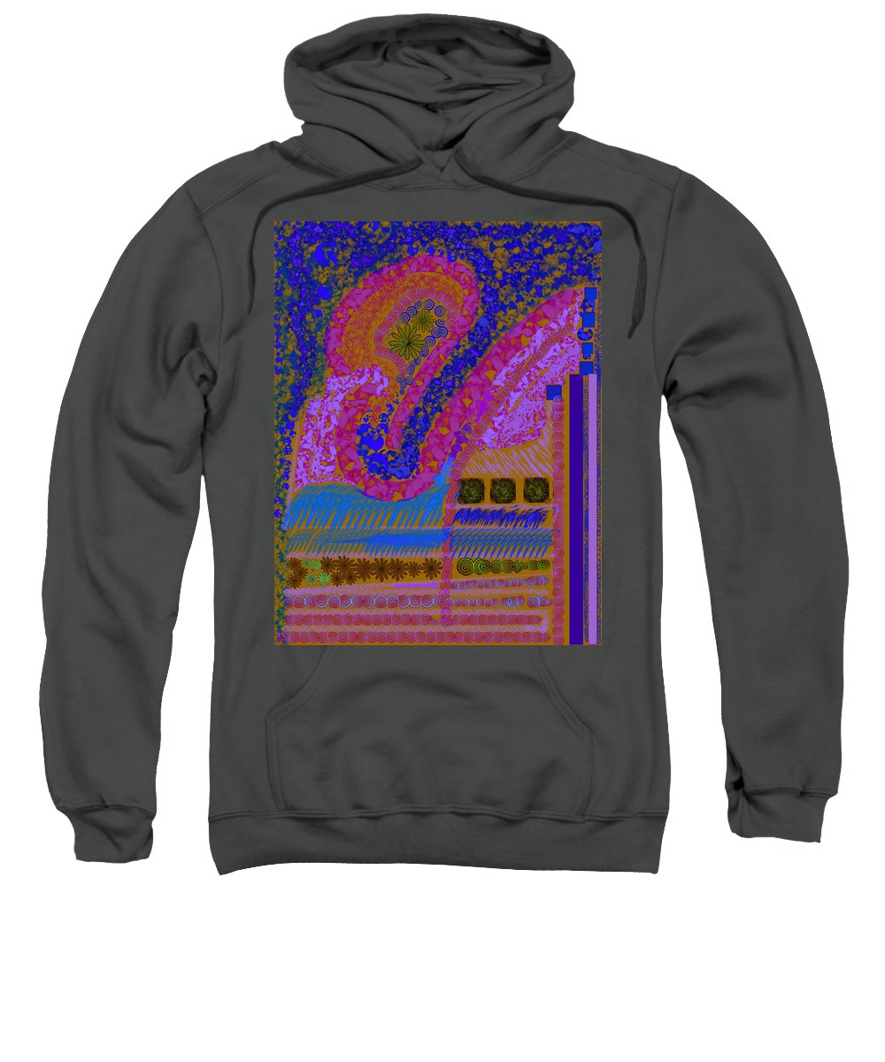 Abstract Colors Pinks Blues Fabricdesign Sweatshirt featuring the digital art My Yard 2 by Suzanne Udell Levinger