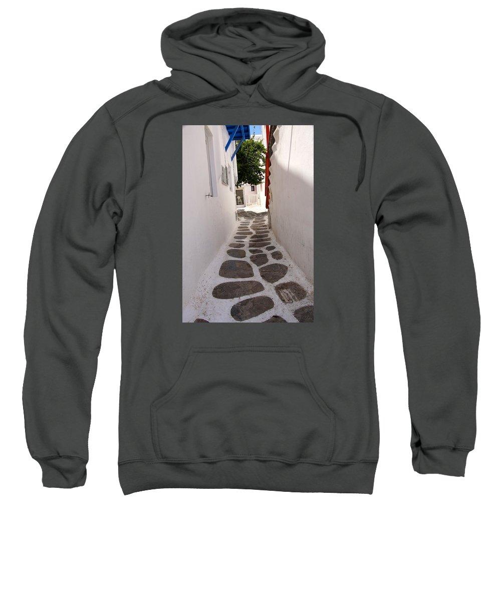 Cobblestone Sweatshirt featuring the photograph Mykonos Alley by Ron Koivisto