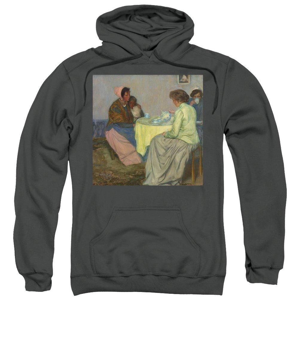 Girl Sweatshirt featuring the painting Myron G. Barlow 1873 - 1937 Dutch Women Drinking Coffee by Myron G Barlow