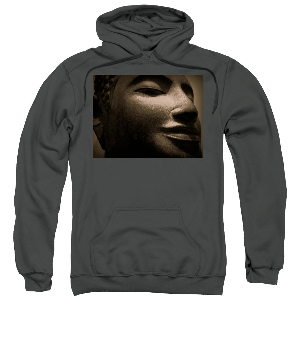 Buddha Sweatshirt featuring the photograph Mysterious Buddha by Cara Imperato