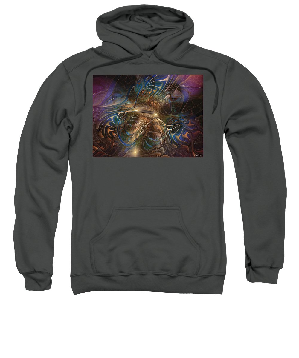 Abstract Sweatshirt featuring the digital art Mystery Spread Its Cloak by Casey Kotas