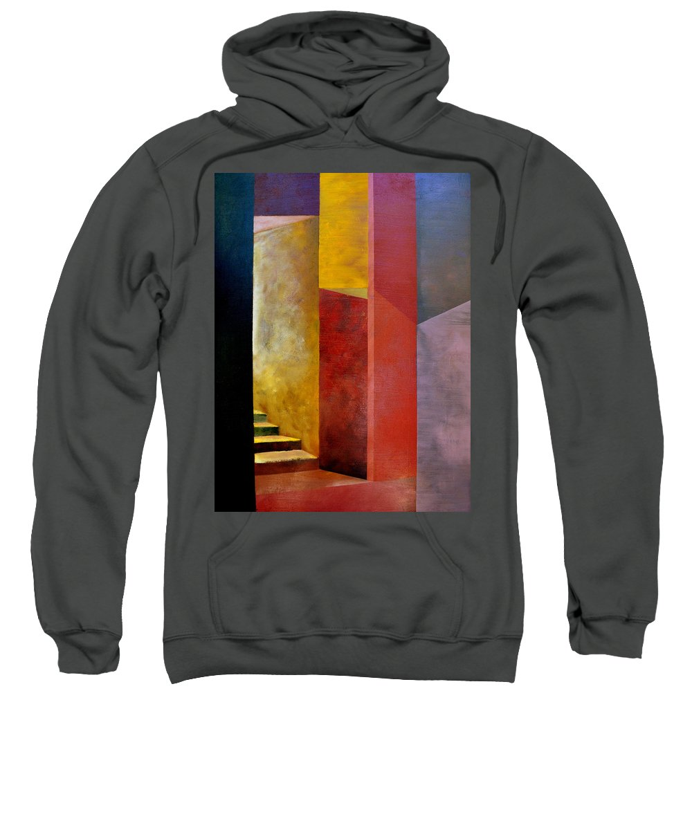 Gold Sweatshirt featuring the painting Mystery Stairway by Michelle Calkins