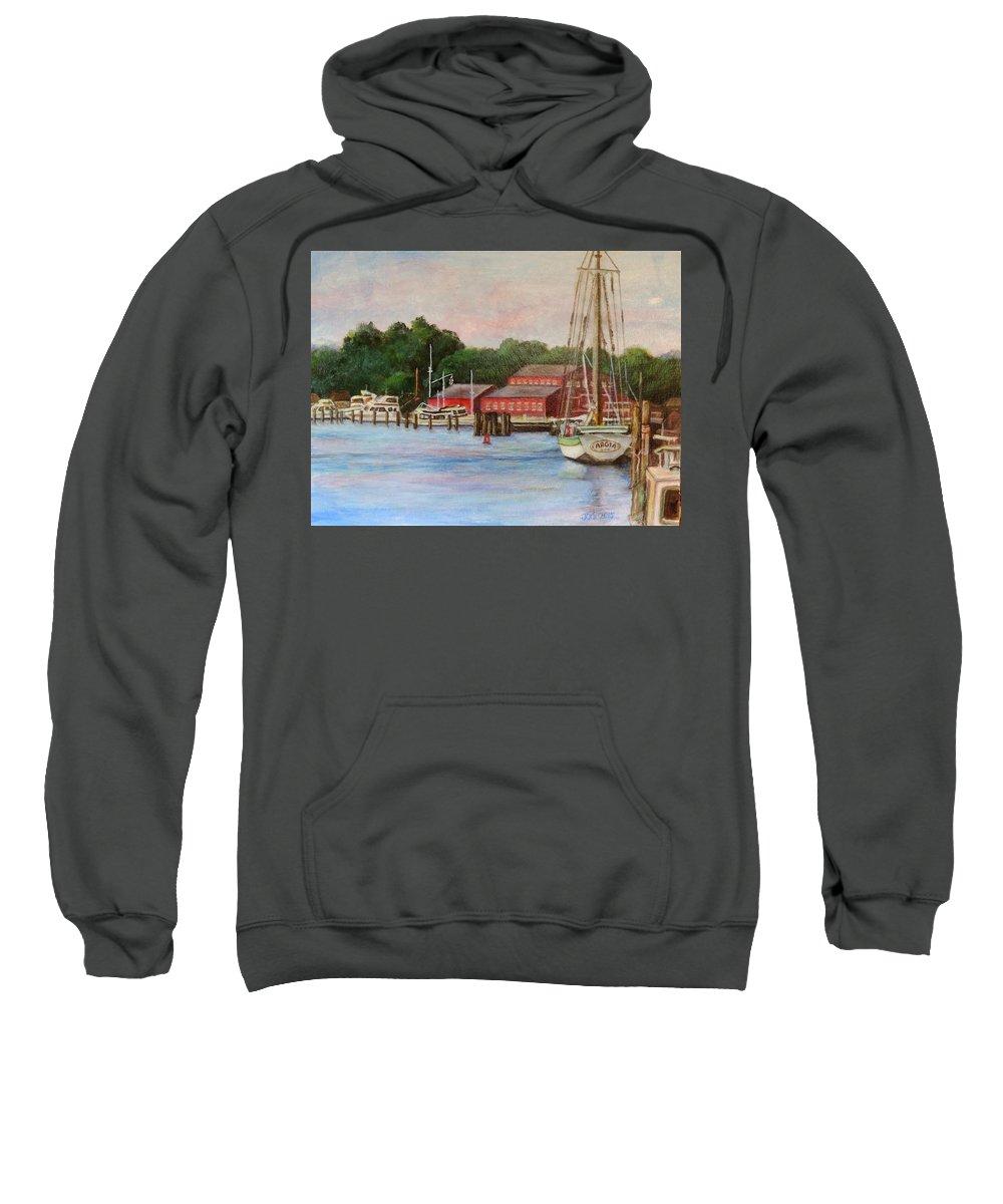 River Sweatshirt featuring the painting Mystic River Argia by Jodi Higgins