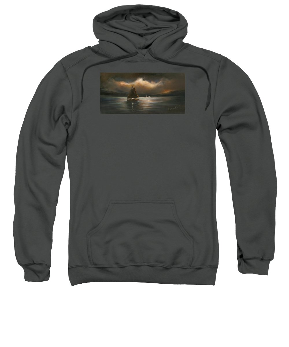 Sailboats Sweatshirt featuring the painting Mystical Journey by Sharon Abbott-Furze