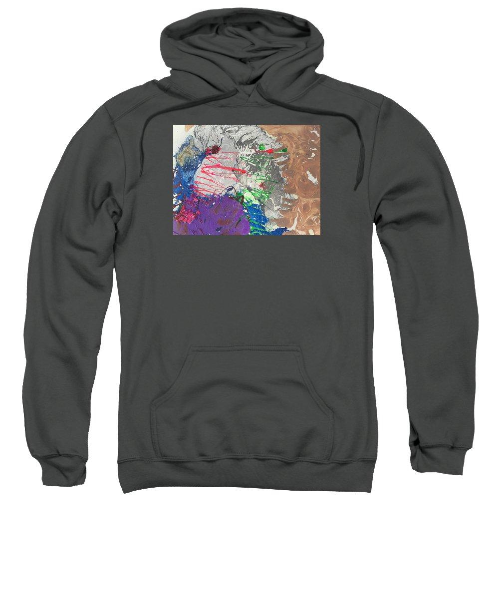 Nail Polish Abstract On Canvas Sweatshirt featuring the painting Nail Polish Abstract 15-u11 by Virginia Margarita