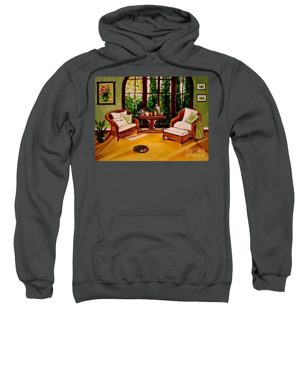 Cats Sweatshirt featuring the painting Nap Time by Elizabeth Robinette Tyndall