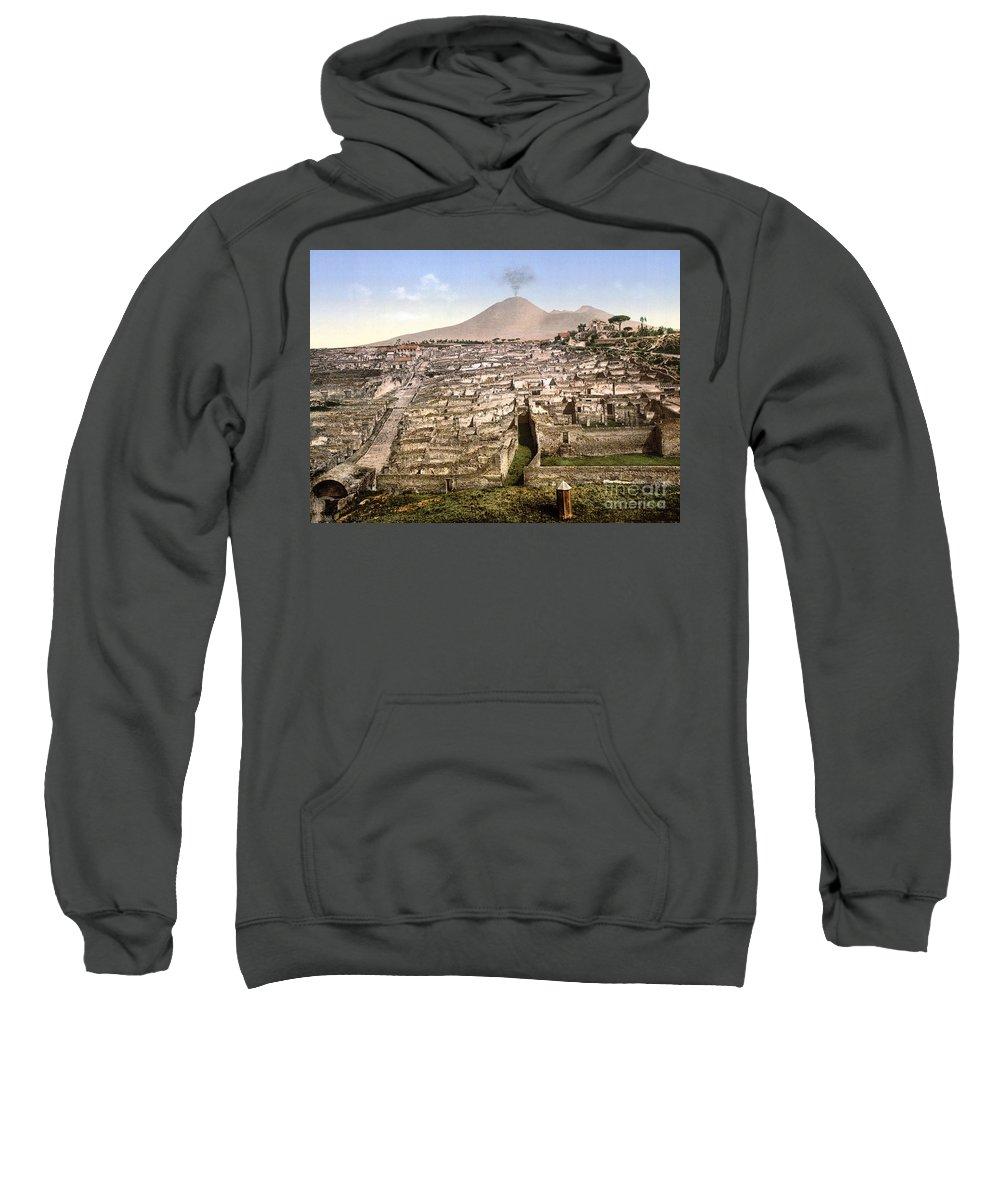 1890 Sweatshirt featuring the photograph Naples: Mt. Vesuvius by Granger