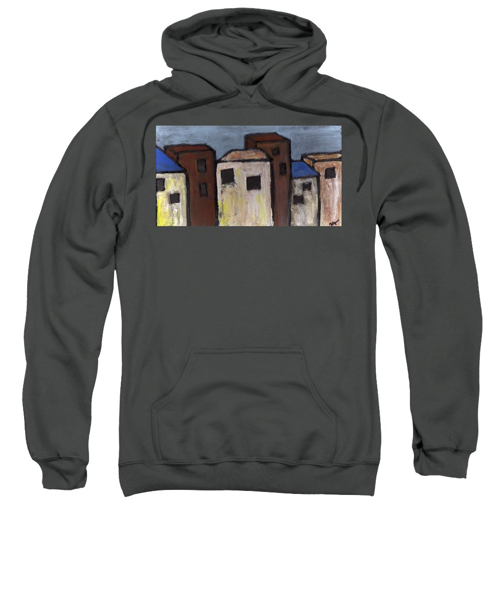 Street Scene Sweatshirt featuring the painting Narrow Street by Wayne Potrafka