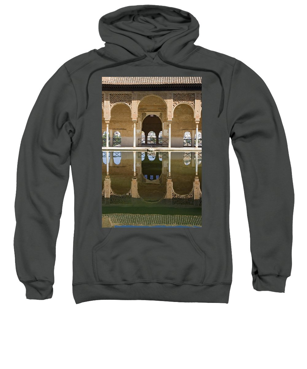 Moorish Sweatshirt featuring the photograph Nasrid Palace Arches Reflection At The Alhambra Granada by Mal Bray