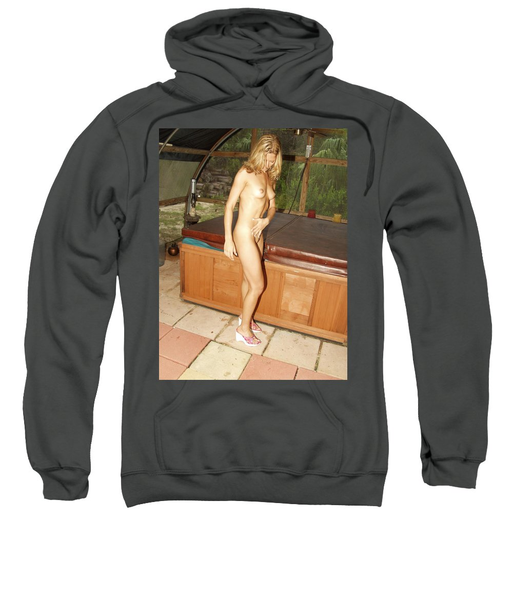 Natural Beauty Sexy Glamorous Exotic Natural Settings Blond Beauty Legs Sweatshirt featuring the photograph Natural Beauty 326 by Lucky Cole