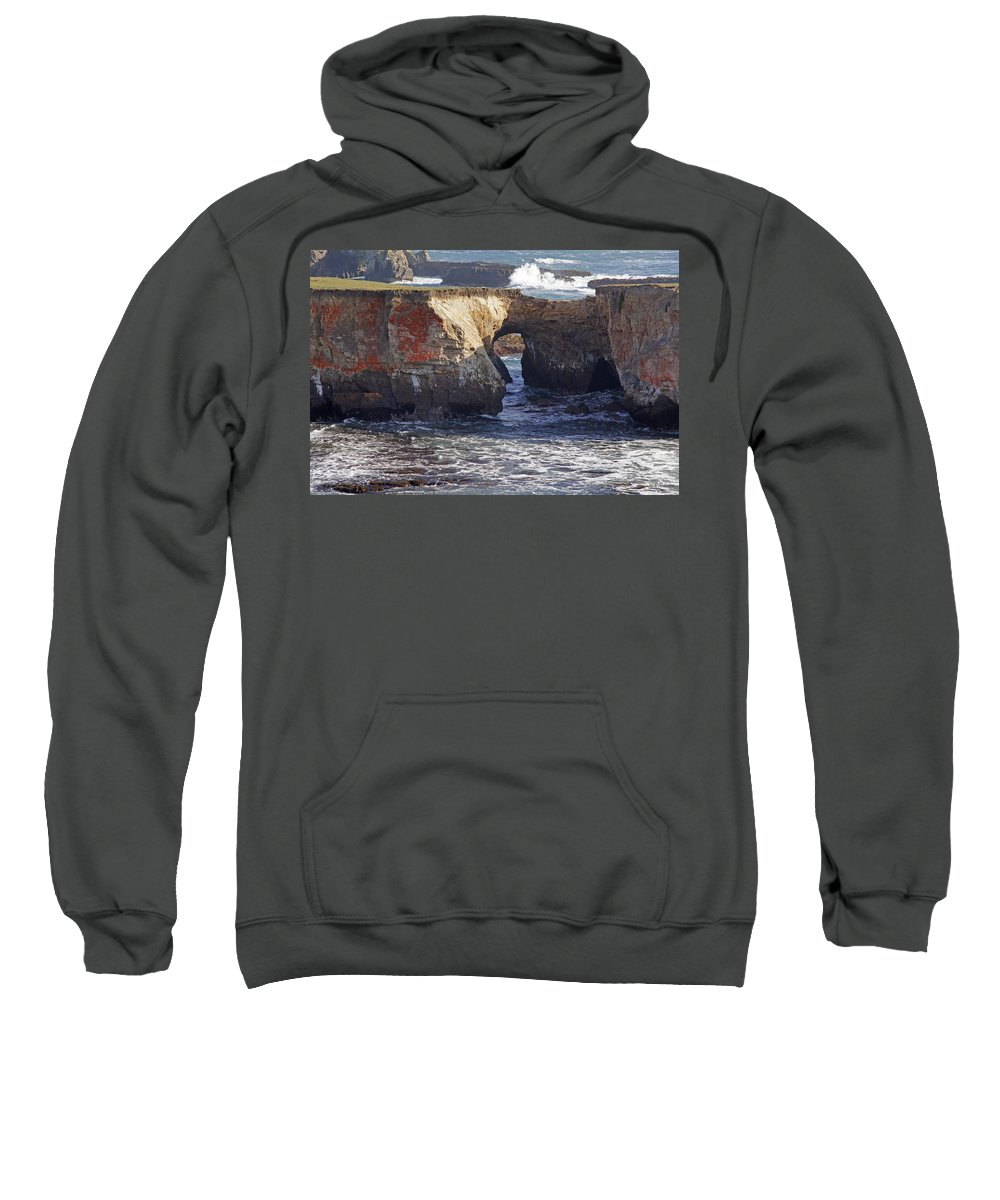 Highway 1 Sweatshirt featuring the photograph Natural Bridge At Point Arena by Mick Anderson