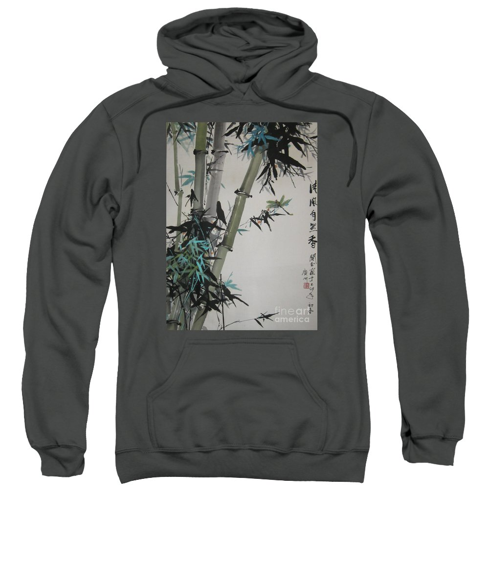Bamboo Sweatshirt featuring the painting Natural Scent of Cool Breeze by Guanyu Shi