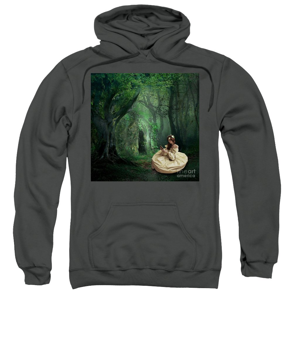 Forest Nature Woman Trees Green Lush Outdoors Dress Gown Princess Fairytale Sweatshirt featuring the mixed media Nature Is Her Adornment by Tammera Malicki-Wong