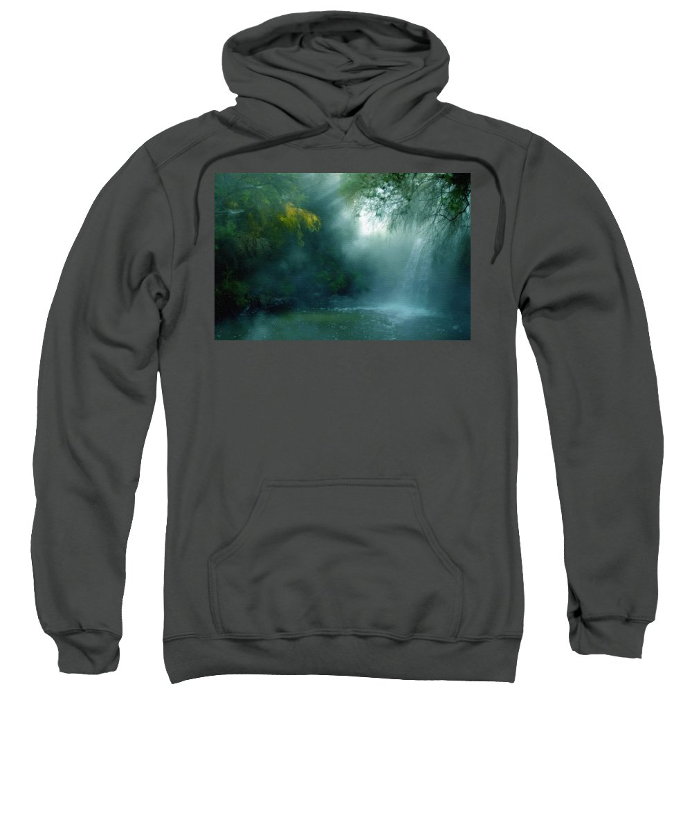 Nature Sweatshirt featuring the mixed media Nature's Mystique by Georgiana Romanovna