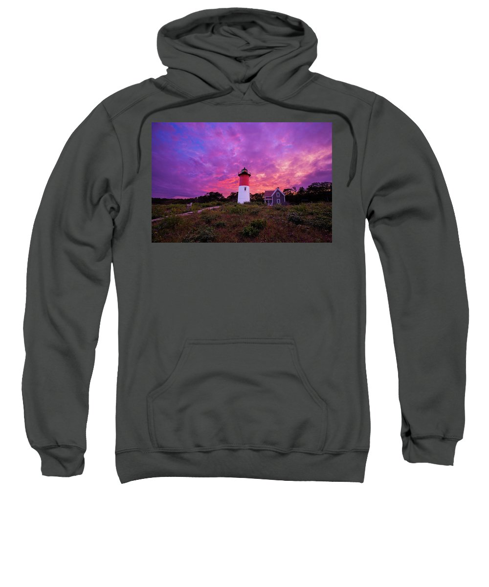 Fall Sweatshirt featuring the photograph Nauset Lighthouse Sunset by Mircea Costina Photography