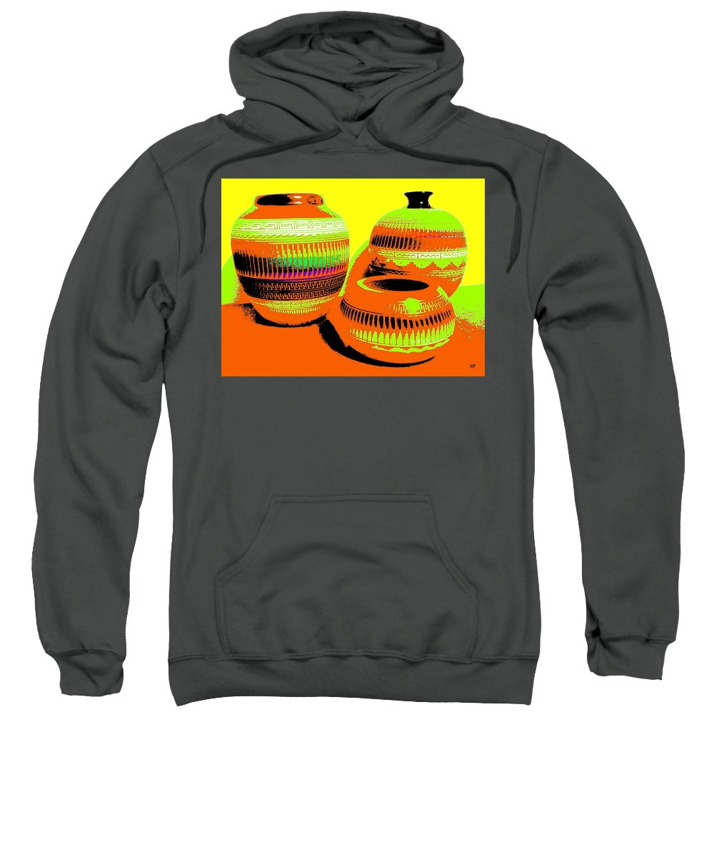 Abstract Sweatshirt featuring the digital art Navajo Pots by Will Borden