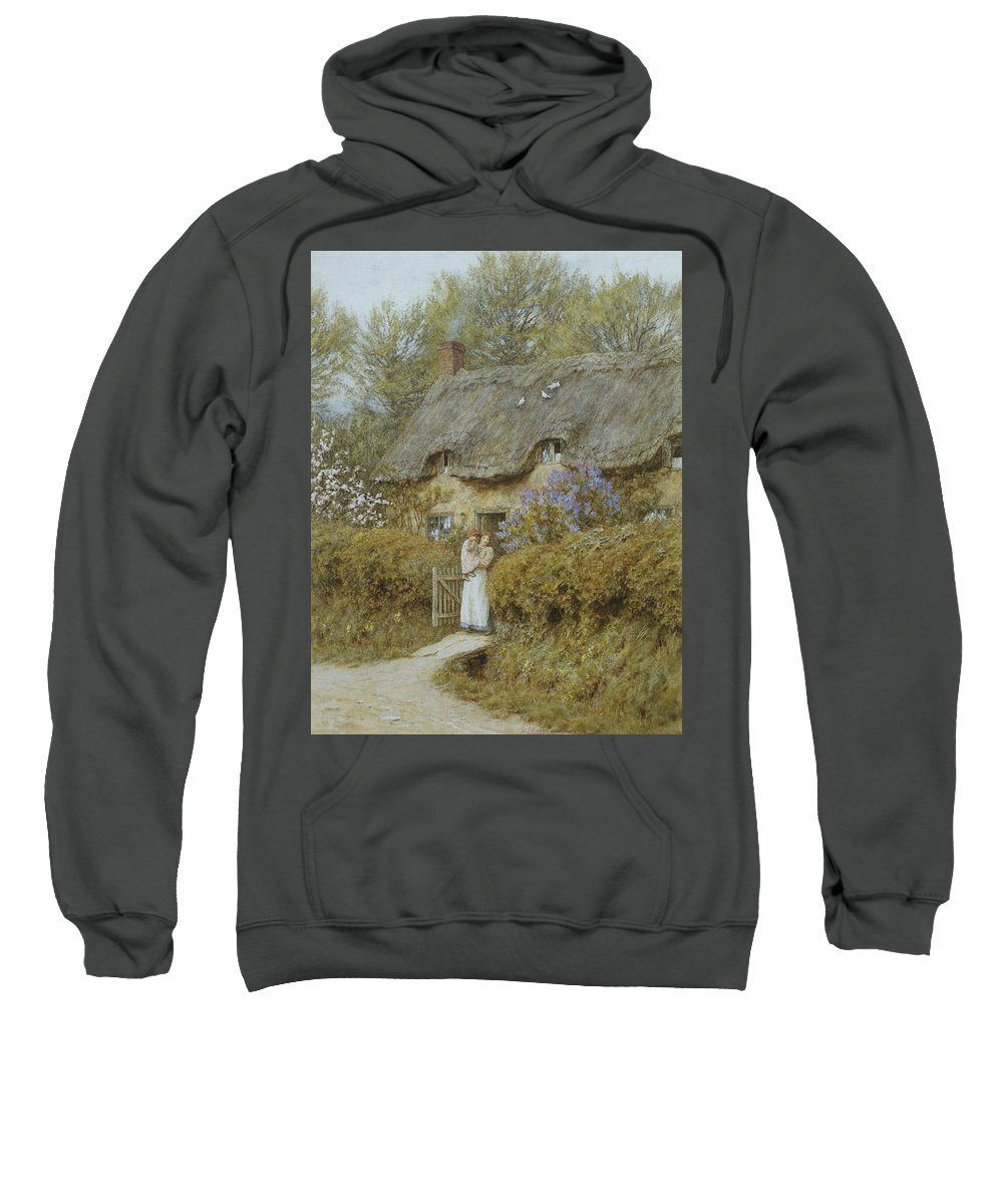 Cottage; English; Landscape; Victorian; C19th; C20th; Thatched; Thatch; Gate; Gateway; Hedge; Mother; Child; Baby; Female Sweatshirt featuring the painting Near Freshwater Isle Of Wight by Helen Allingham