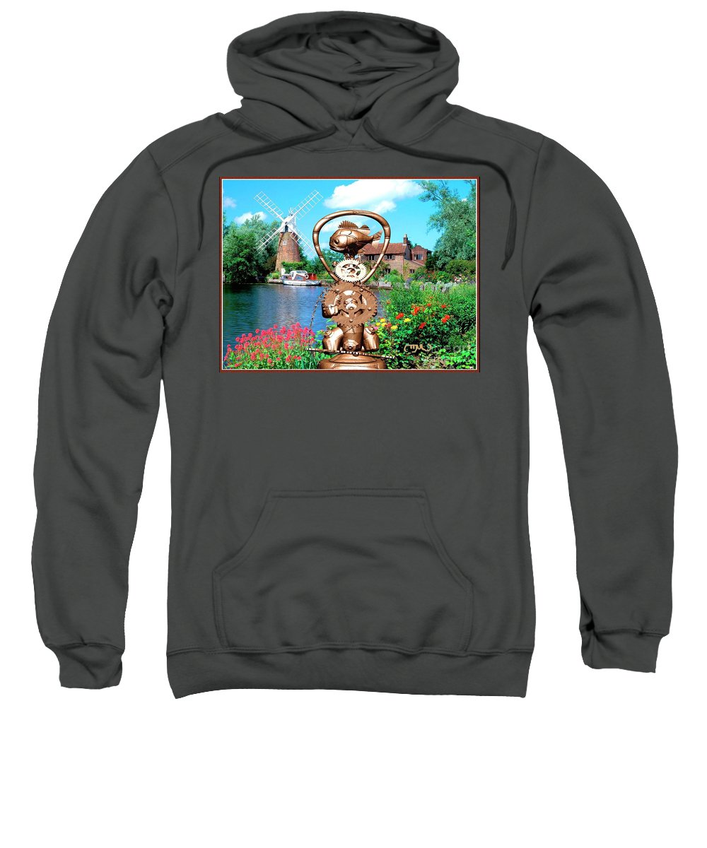 Modern Painting Sweatshirt featuring the mixed media Near The Lake 1 by Pemaro