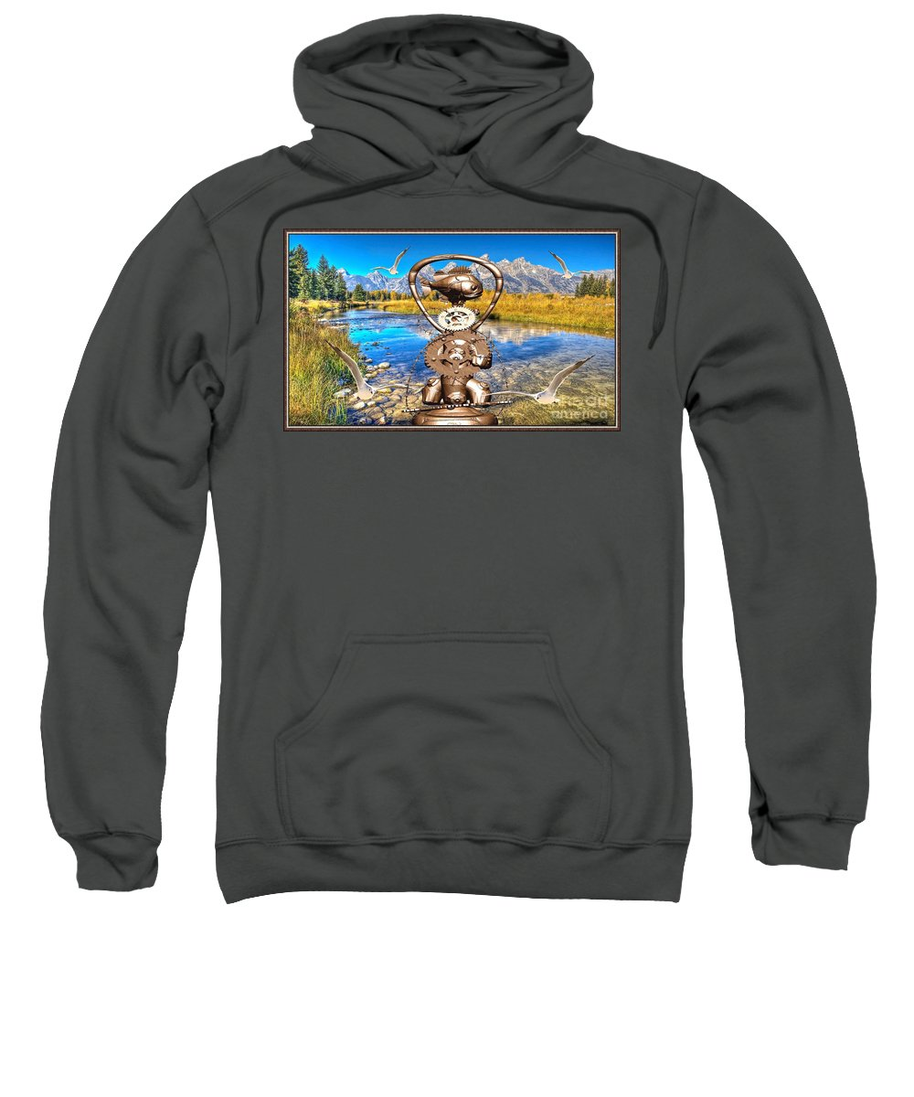 Modern Painting Sweatshirt featuring the digital art Near The Lake In The Mountain 4 by Pemaro