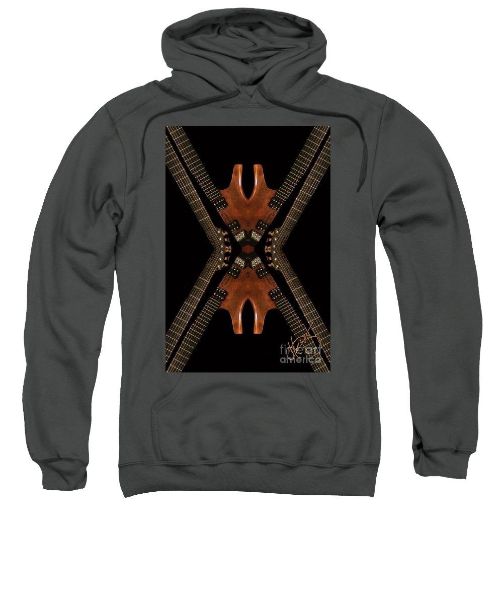 Digital Photography Sweatshirt featuring the digital art Necking Guitars by Artepunk Art