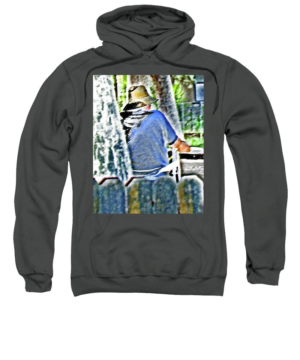 Abstract Sweatshirt featuring the digital art Neighborhood Gardener 2 by Lenore Senior