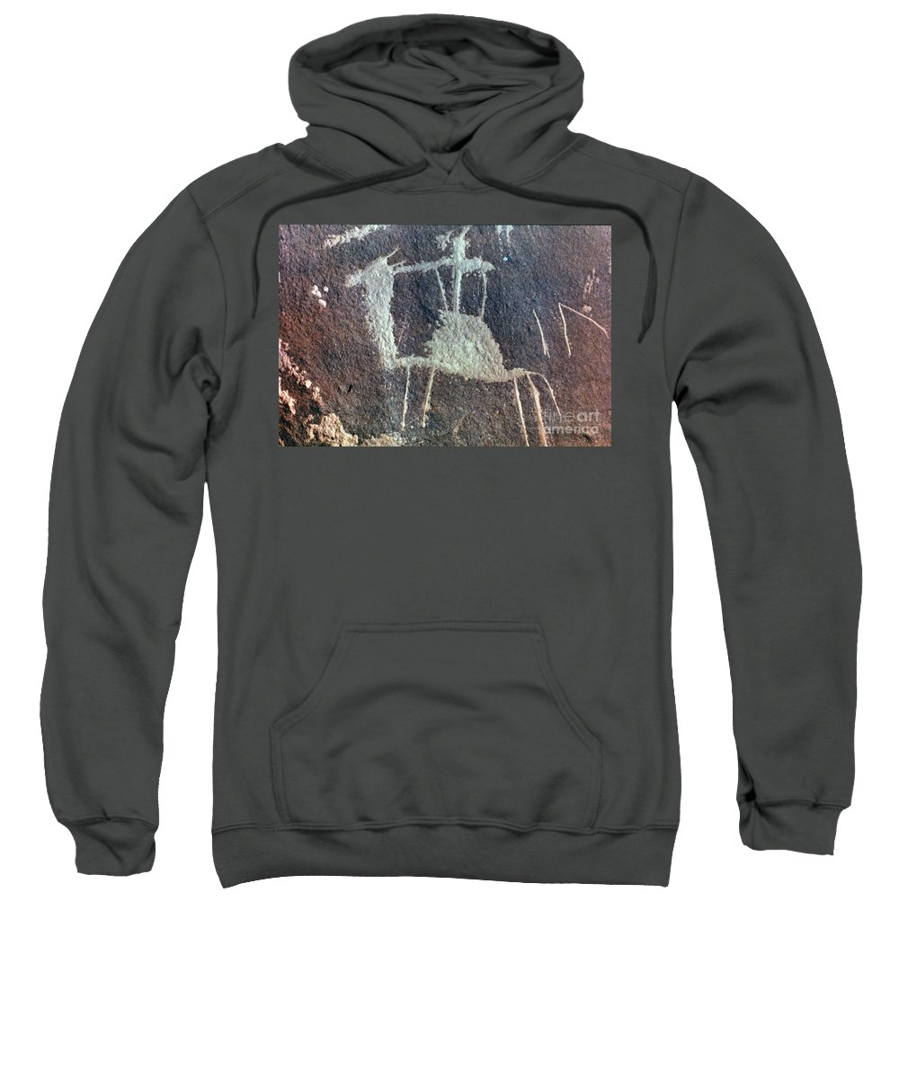 Camel Sweatshirt featuring the photograph Neolithic Petroglyph by Granger