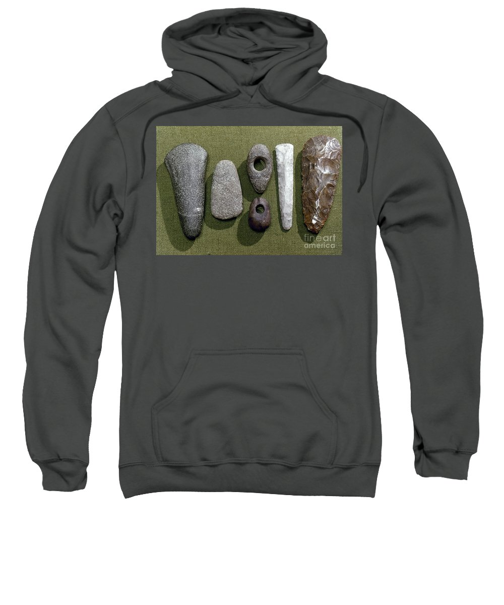 1800 B. C. Sweatshirt featuring the photograph Neolithic Tools by Granger
