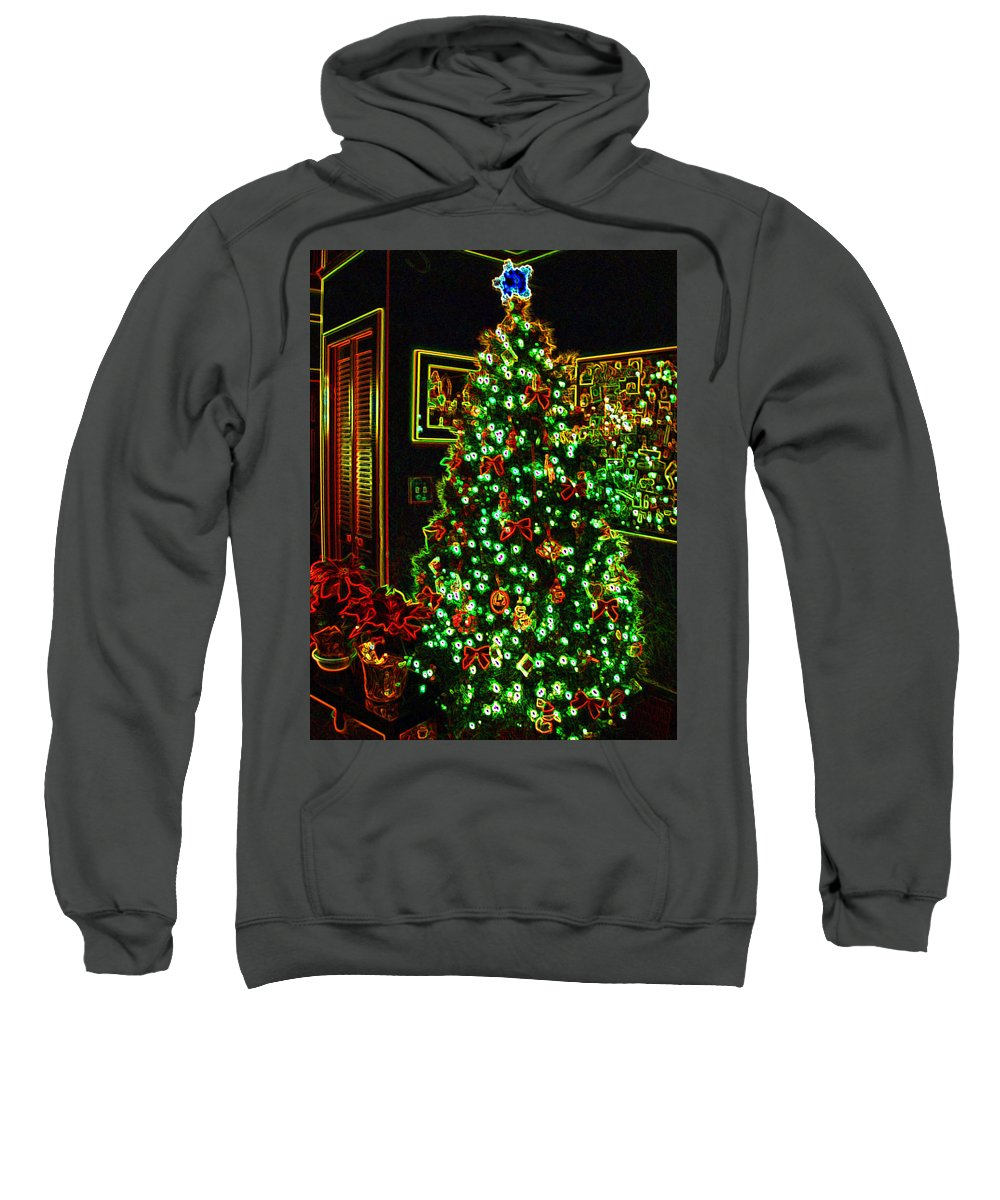 Christmas Sweatshirt featuring the photograph Neon Christmas Tree by Nancy Mueller