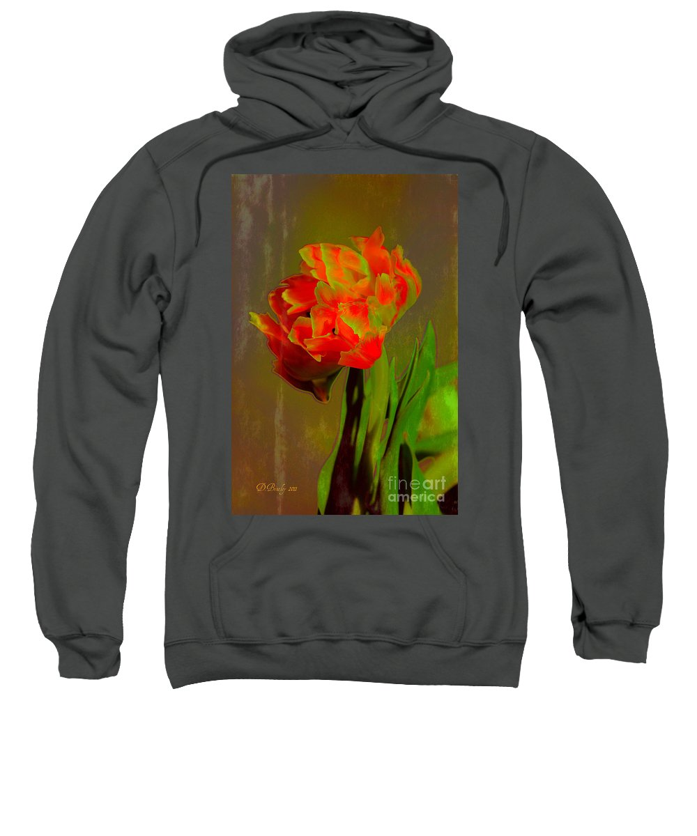 Flower Sweatshirt featuring the photograph Neon Tulip by Donna Bentley