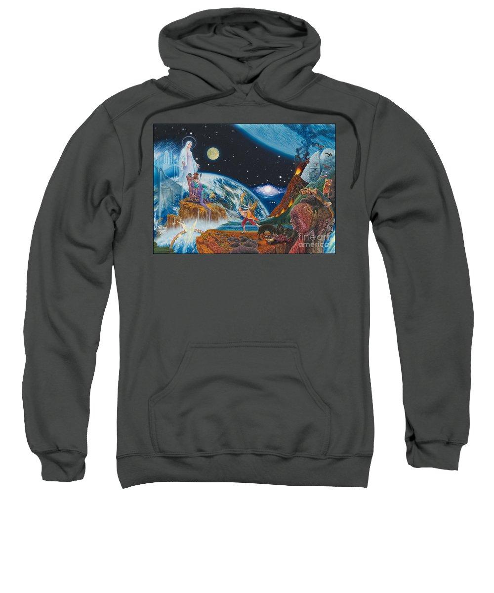 Surrealism Sweatshirt featuring the painting New Age by Leonard Rubins
