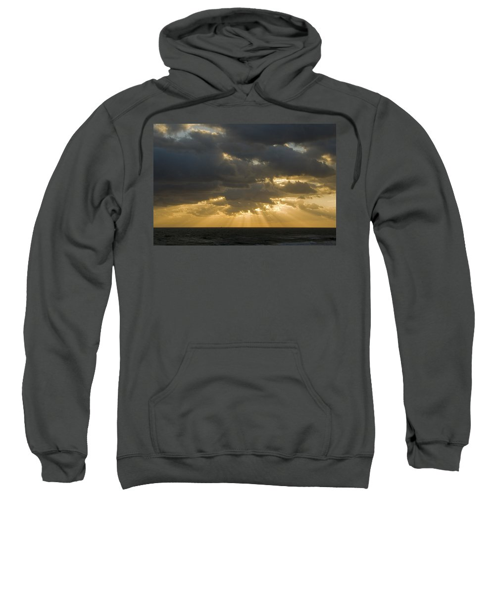 Ocean Sunset Sun Cloud Clouds Ray Rays Beam Beams Bright Wave Waves Water Sea Beach Golden Nature Sweatshirt featuring the photograph New Beginning by Andrei Shliakhau