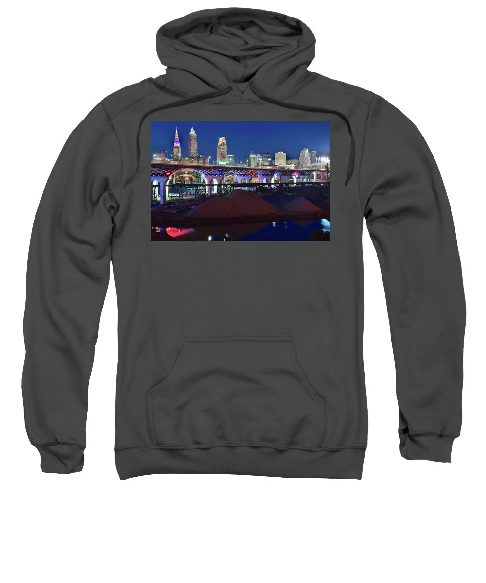 Cleveland Sweatshirt featuring the photograph New Bridge From Along The River by Frozen in Time Fine Art Photography