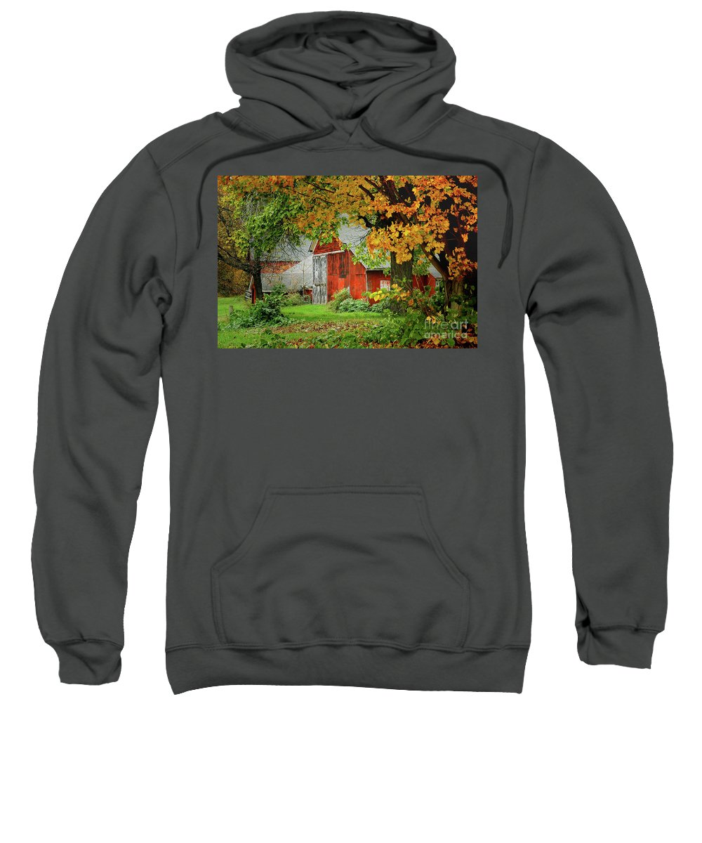New England Fall Sweatshirt featuring the photograph New England Rustic - New England Fall Landscape Red Barn by Jon Holiday