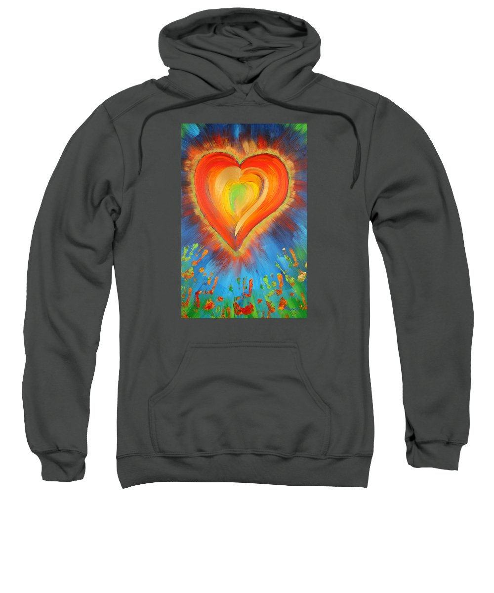 Heart Sweatshirt featuring the painting New Heart by Gary Rowell