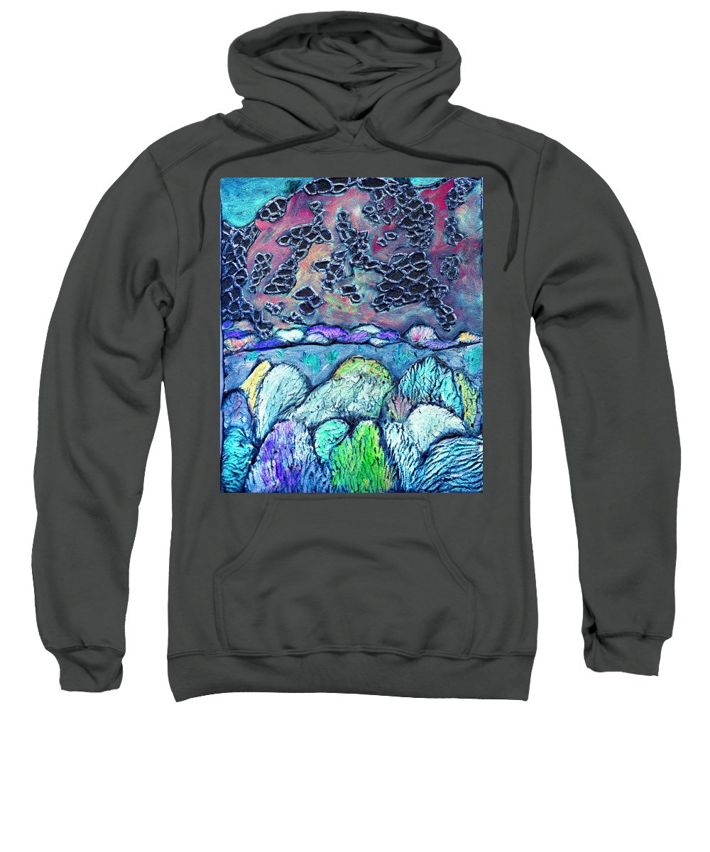 Landscape Sweatshirt featuring the painting New Mexico Landscape by Wayne Potrafka