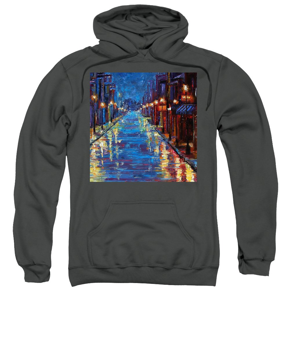 Cityscape Sweatshirt featuring the painting New Orleans Bourbon Street by Debra Hurd