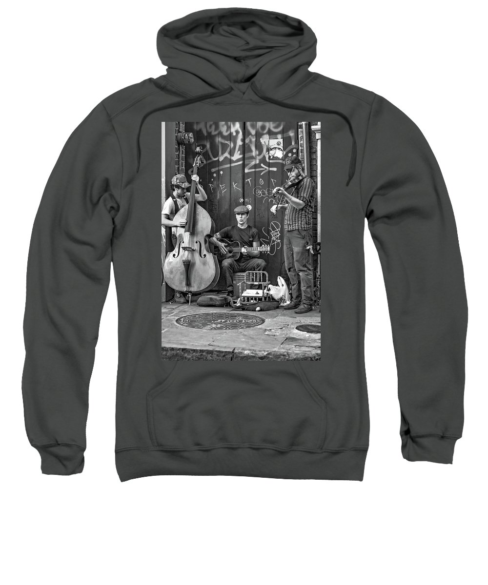 French Quarter Sweatshirt featuring the photograph New Orleans Street Musicians Bw by Steve Harrington