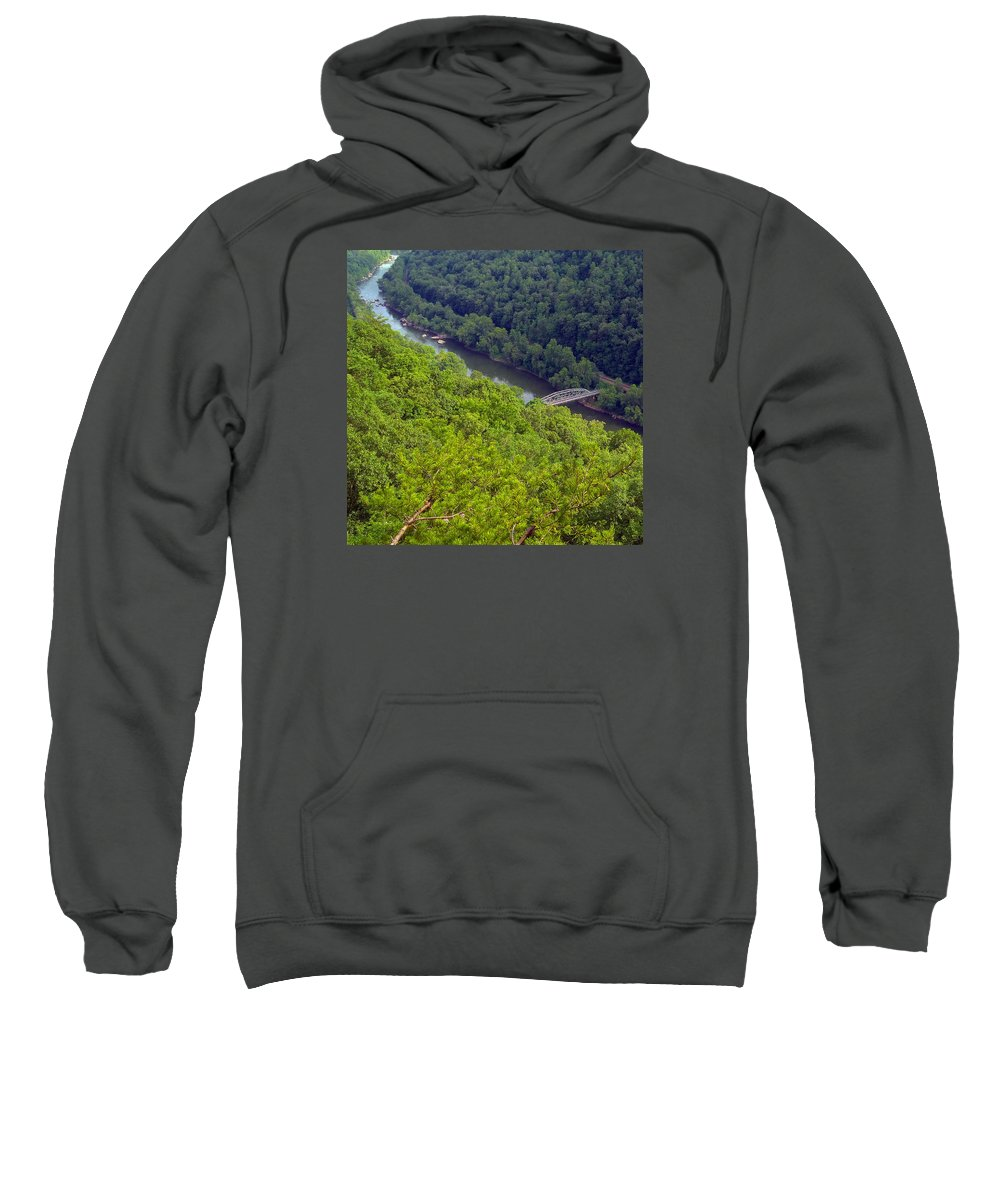 New River Sweatshirt featuring the photograph New River Old Bridge by Pat Turner