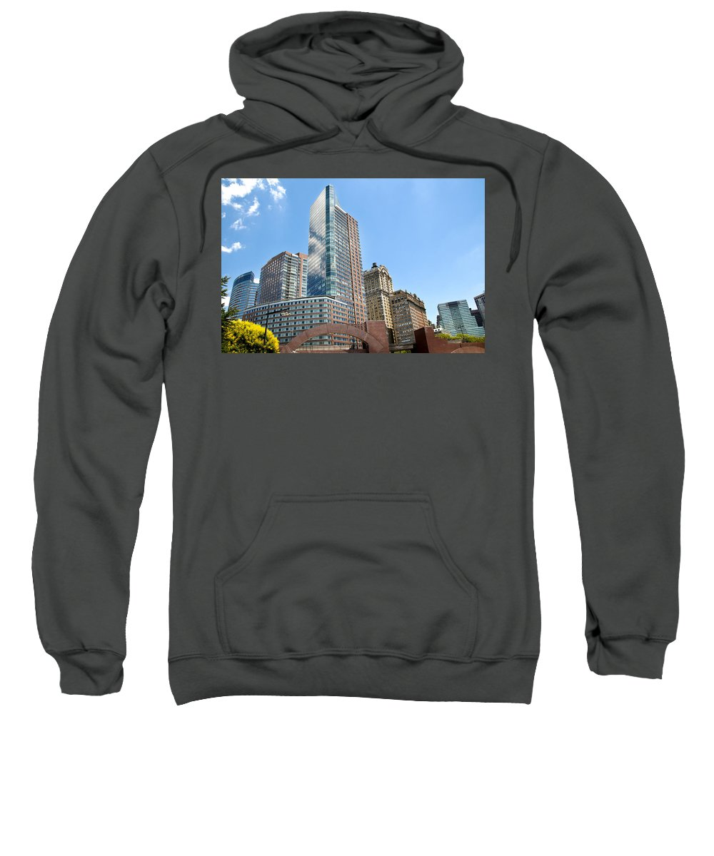 Lower Manhattan Sweatshirt featuring the photograph New York City Architecture by Alida Thorpe