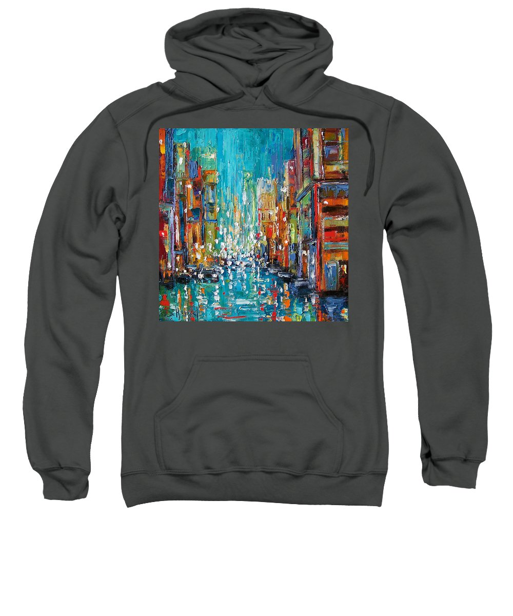 City Art Sweatshirt featuring the painting New York City by Debra Hurd