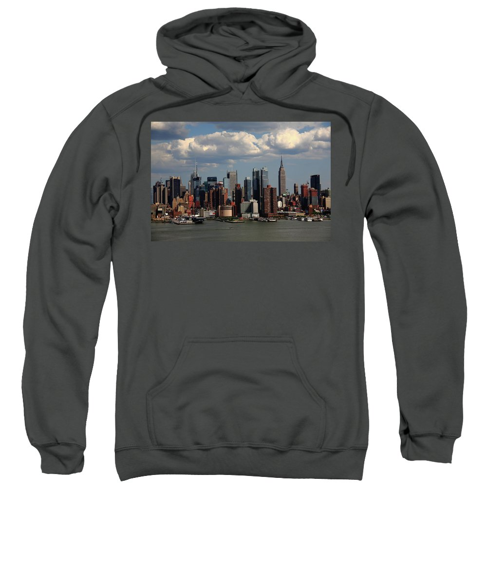 America Sweatshirt featuring the photograph New York City Skyline 4 by Frank Romeo