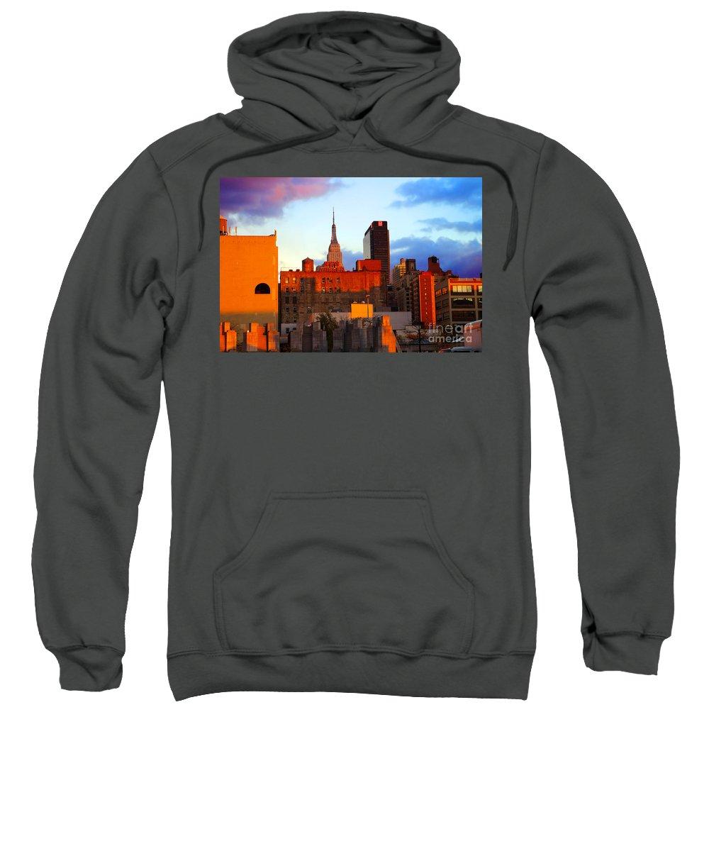 New York City Sweatshirt featuring the photograph New York City Skyline Sunset by Rich Walter