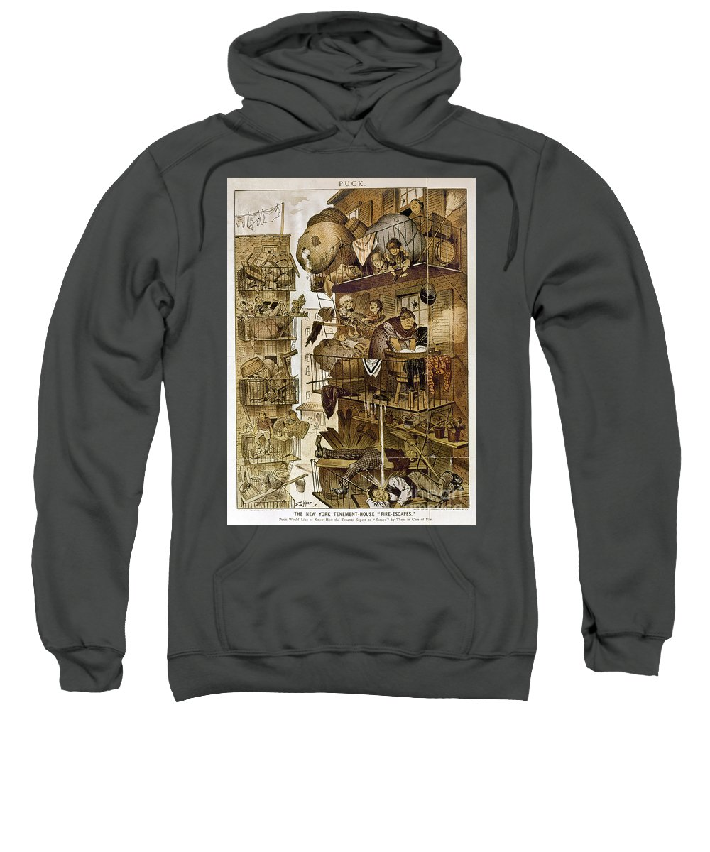 1890 Sweatshirt featuring the photograph New York: Fire Escapes by Granger