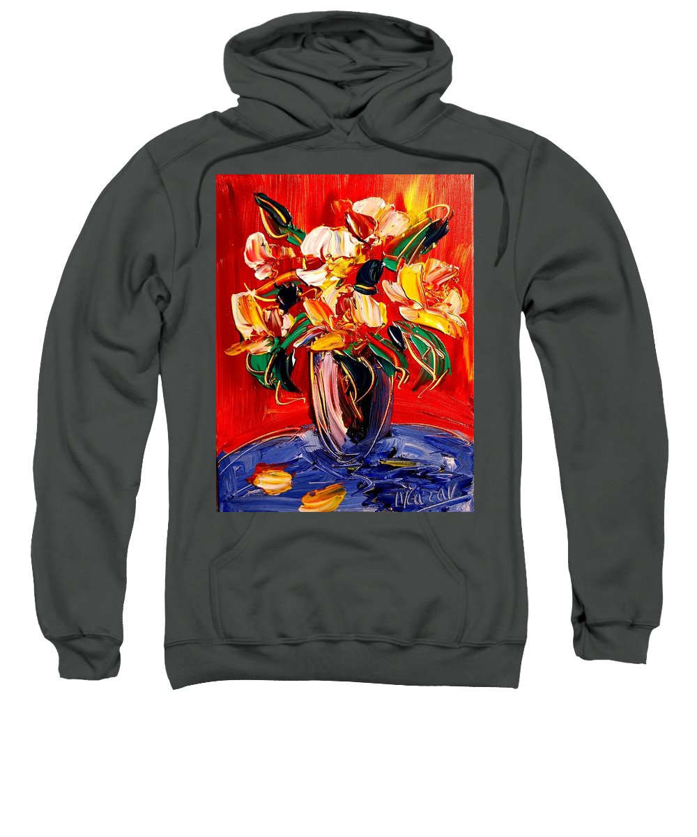 Landscape Framed Prints Sweatshirt featuring the painting New York Flowers by Mark Kazav