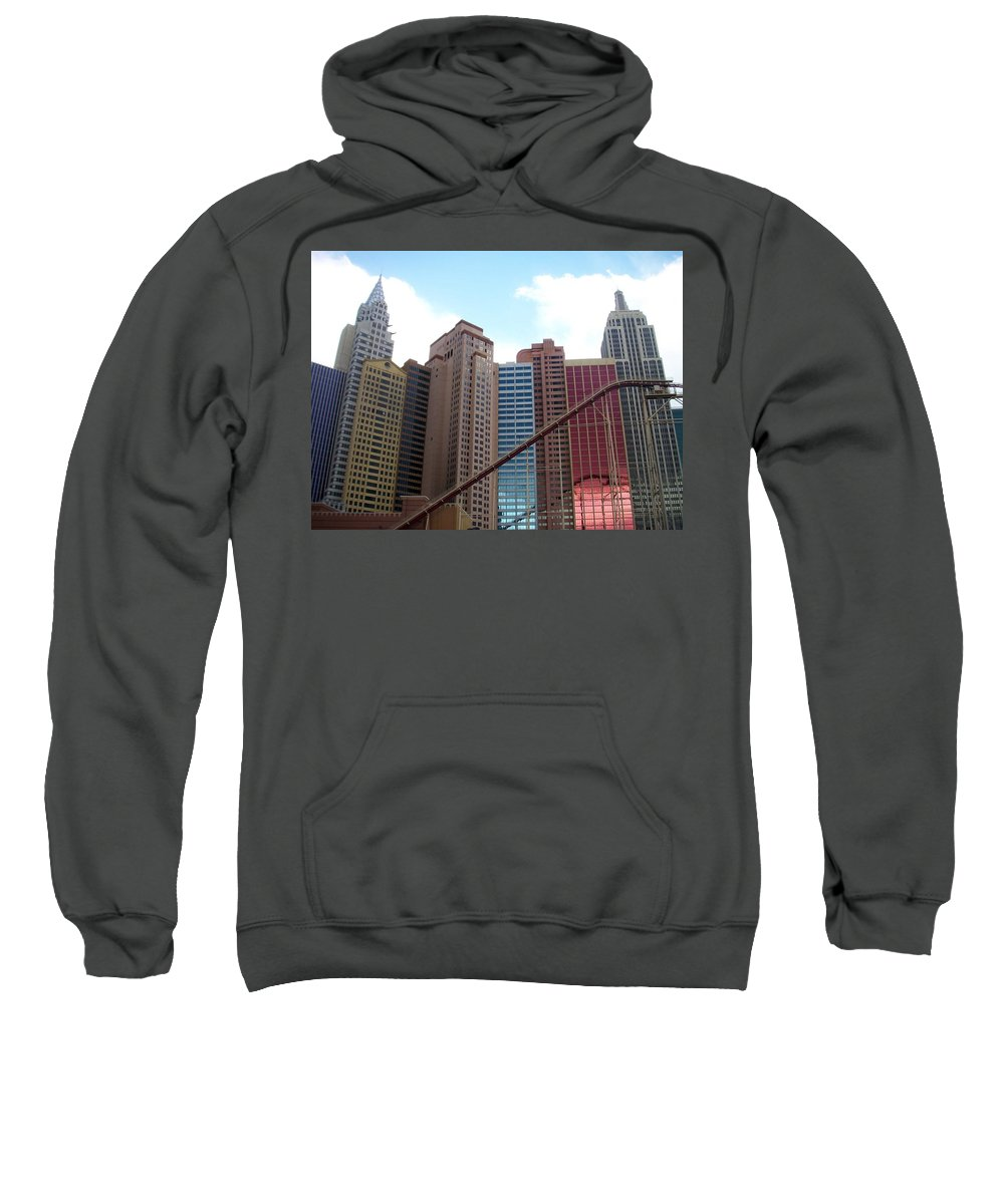 Vegas Sweatshirt featuring the photograph New York Hotel With Clouds by Anita Burgermeister