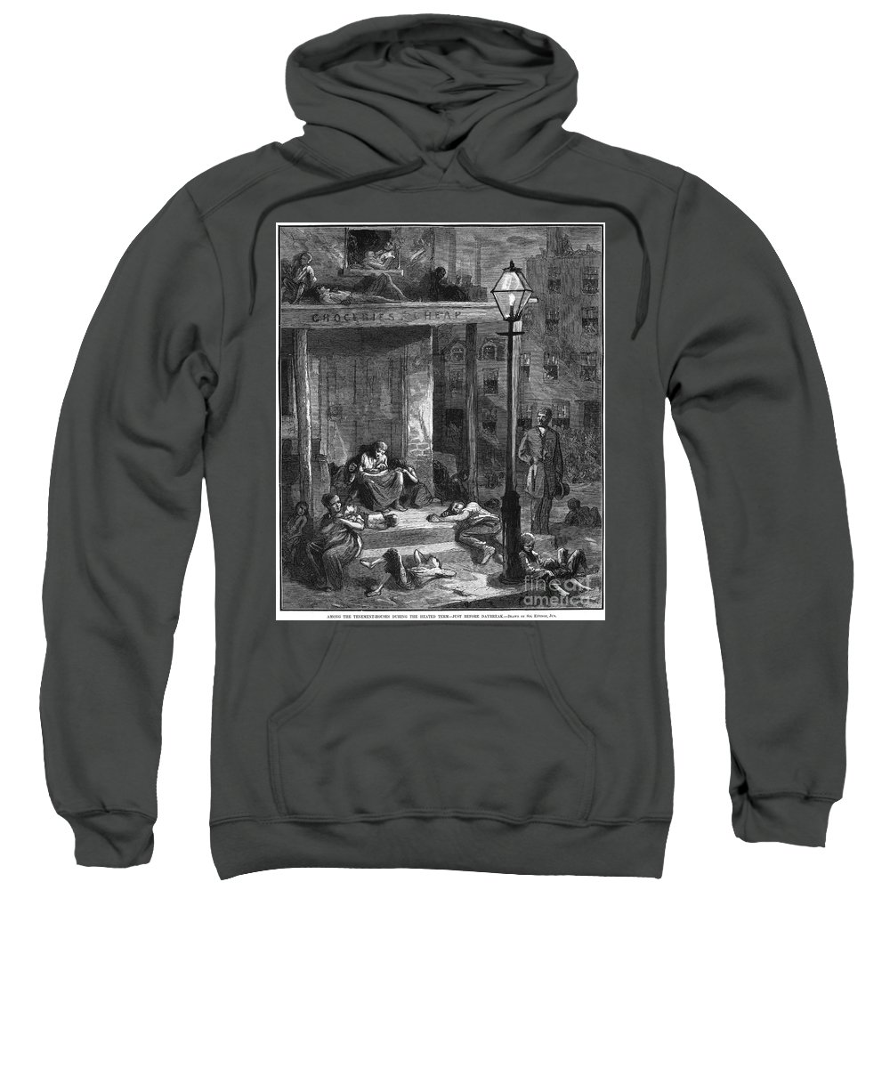 1879 Sweatshirt featuring the photograph New York Poor In Summer by Granger