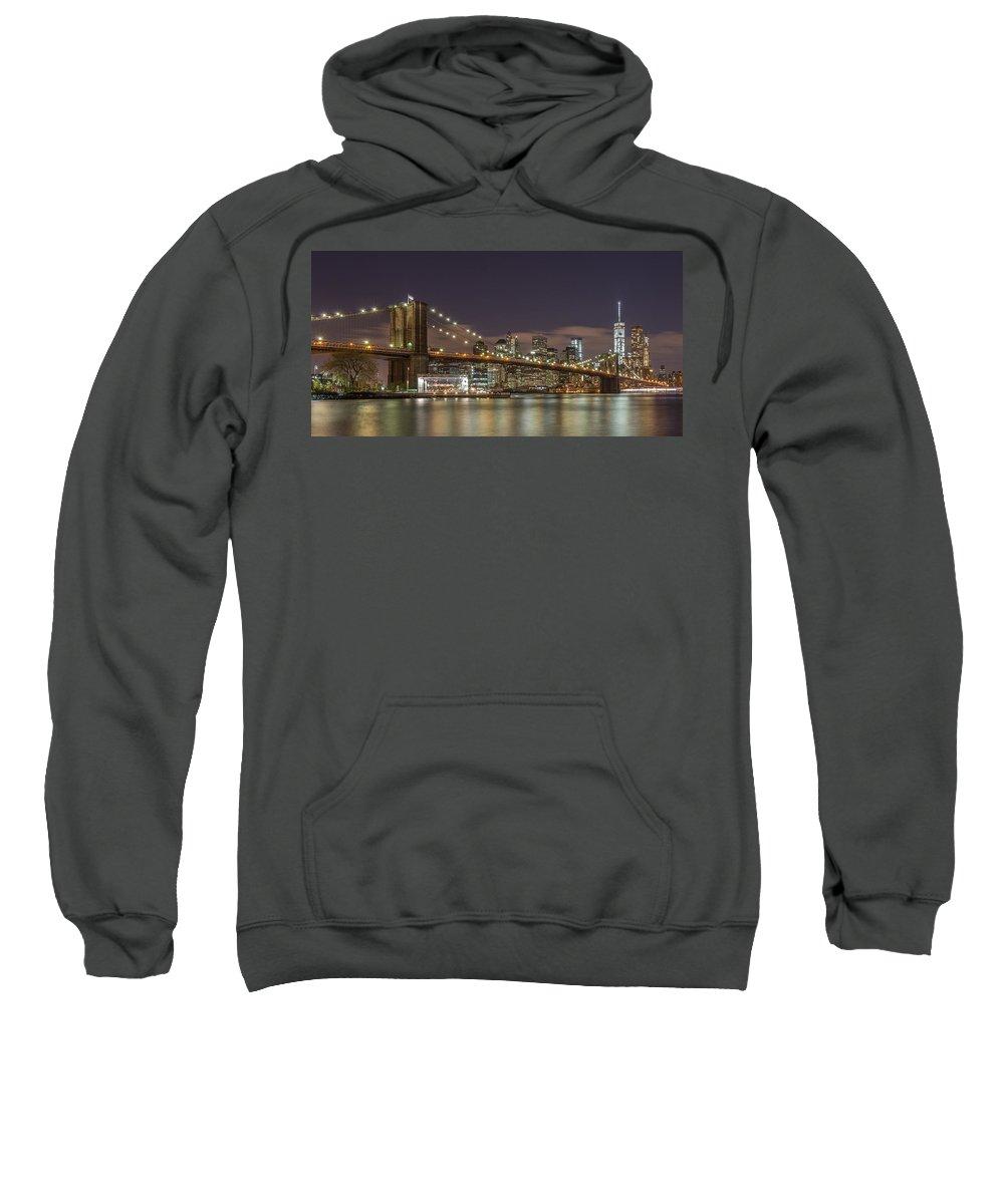 Architecture Sweatshirt featuring the photograph New York Skyline - Brooklyn Bridge - 6 by Christian Tuk