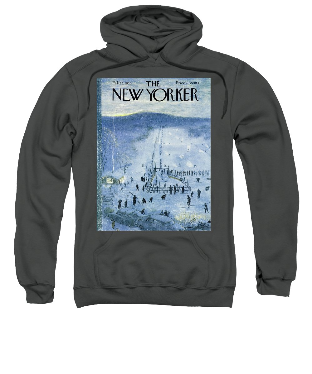 Skiing Sweatshirt featuring the painting New Yorker February 18 1956 by Garrett Price